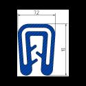 Siliconen klemprofiel Blauw  FDA keurmerk   7,2 x 10 mm   klembereik 1-2 mm