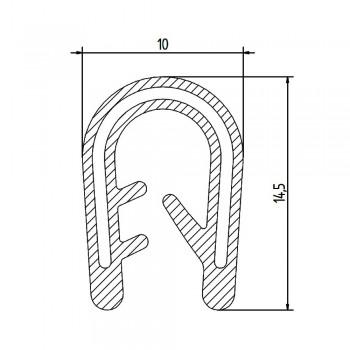 Siliconen klemprofiel zwart| FDA keurmerk | 10 x 14,5 mm | klembereik 3-4 mm