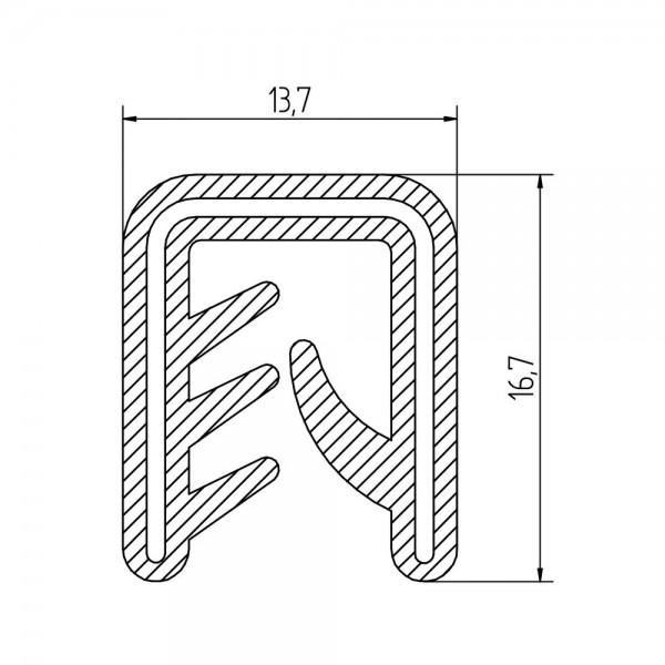 Siliconen klemprofiel zwart| FDA keurmerk | 13,7 x 16,7 mm | klembereik 2,5 - 5,0 mm