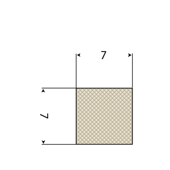 FDA Siliconen vierkantsnoer 60° Shore A | 7mm x 7mm | Rol 50 meters