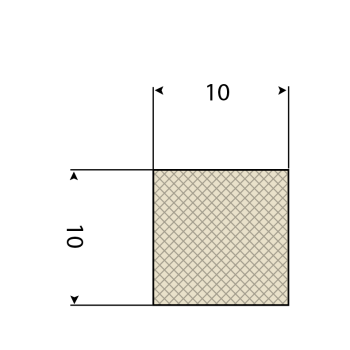FDA Siliconen vierkantsnoer 60° Shore A | 10mm x 10mm | Rol 25 meters