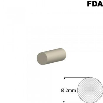 Wit Siliconensnoer | Ø 2mm | FDA keurmerk | Rol 50 meter of afsnijding