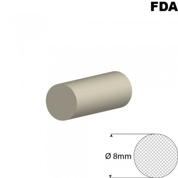 Wit Siliconensnoer | Ø 8mm | FDA keurmerk | Rol 25 meter of afsnijding