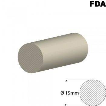 Wit Siliconensnoer | Ø 15mm | FDA keurmerk | Rol 25 meter of afsnijding