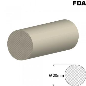 Wit Siliconensnoer | Ø 20mm | FDA keurmerk | Rol 25 meter of afsnijding