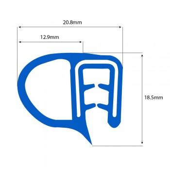 Siliconen klemprofiel blauw met kraal | FDA keurmerk | 18,5 x 20,8 mm | klembereik 2-4mm